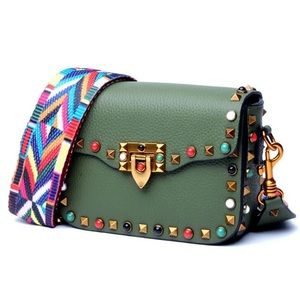 Genuine leather studded cross-body bag